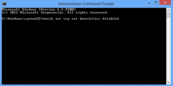 netsh int tcp set heuristics disabled