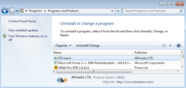 Locate istsearch related software and click on uninstall/change . To ...