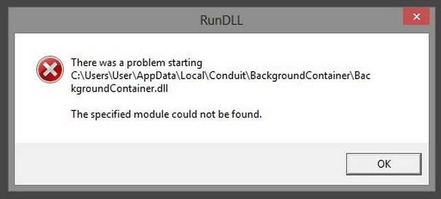remove background container rundll error