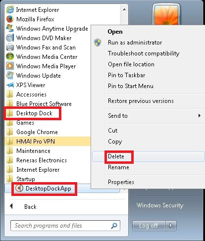 Delete the Program Shortcut and the Program listed in your Start Menu.