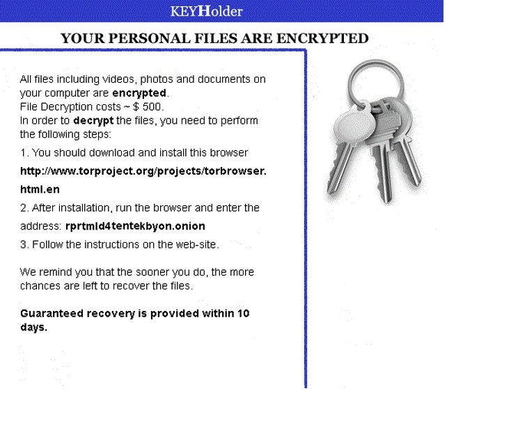 Remove KeyHolder (Ransomware Removal)   Updated