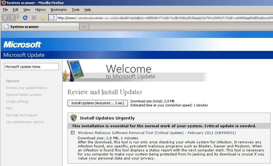 remove windows update virus