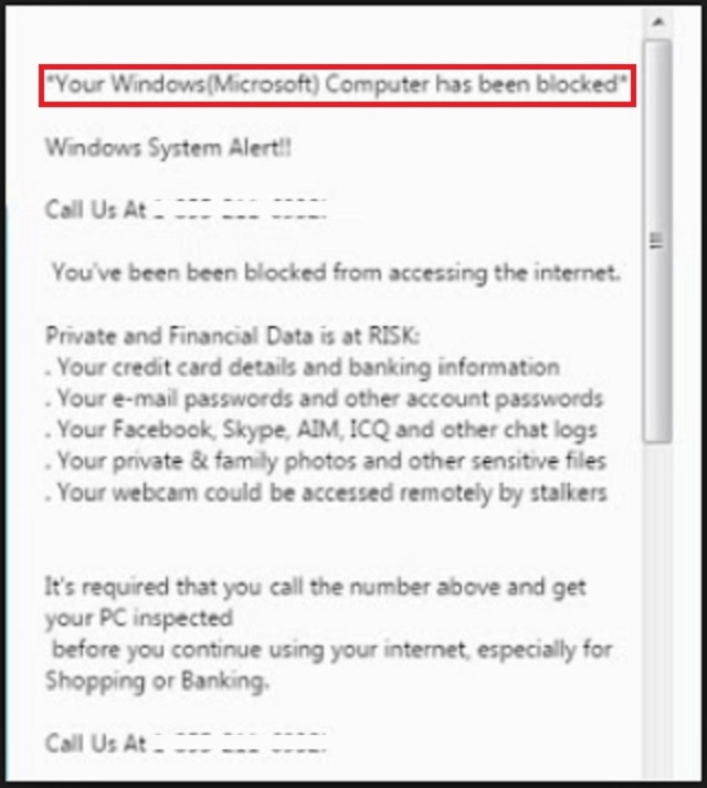 SCAM - YOUR MICROSOFT COMPUTER HAS BEEN BLOCKED | Updated