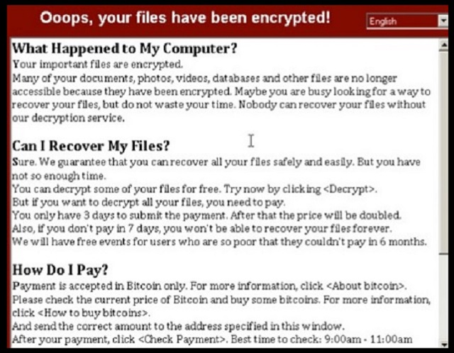 """Oops your files have been encrypted"""" Ransomware Virus"""