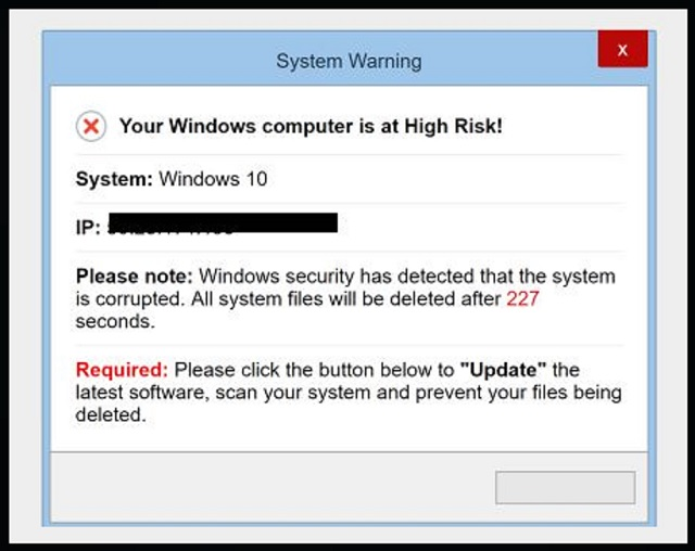 "remove ""Your Windows computer is at High Risk"""