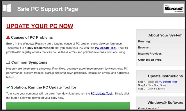 "Remove ""Safe PC Support Page"""